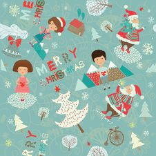 Free Winter Christmas Background With Kids And Santa Royalty Free Stock Photography - 18554167