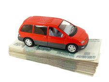A Toy Car Is A Pack Of Russian Money, Stock Photography