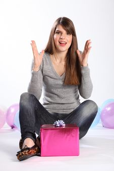 Free Beautiful Woman Happy Surprise Birthday Present Royalty Free Stock Photography - 18556227