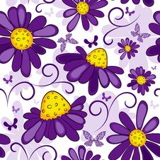 Floral Seamless White-violet Pattern Royalty Free Stock Photo