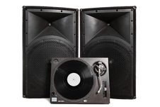Isolated Turntable And Speakers Royalty Free Stock Photography