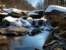 Free Mountain River Rapids In Winter Royalty Free Stock Image - 18558596