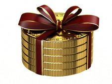 Free Gift Of Gold Coins. Stock Images - 18558914