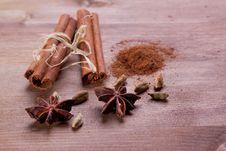 Cinnamon, Anise, Cardamom Stock Photography