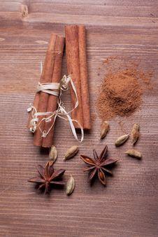 Cinnamon, Anise, Cardamom Royalty Free Stock Image