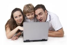 Free Family And Computer Royalty Free Stock Photography - 18559617