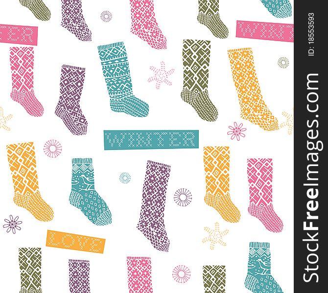 Winter seamless pattern with socks
