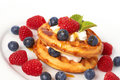Free Belgian Waffles With Berries And Cream Royalty Free Stock Image - 18561616