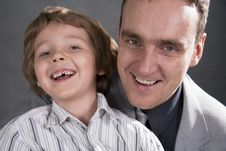 Free Father And Son Cheerfully Talk. Stock Image - 18560091