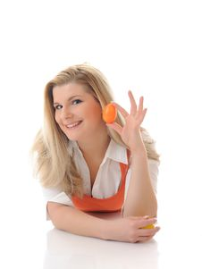 Free Pretty Woman Holding Easter Egg Stock Photos - 18560593