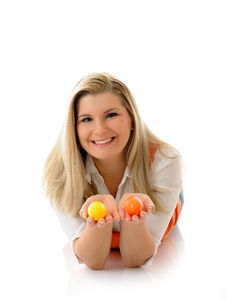 Free Pretty Woman Holding Easter Egg Royalty Free Stock Photography - 18560627
