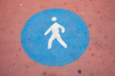 Pedestrian Paint Ground Sign Royalty Free Stock Image