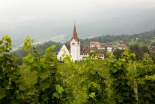Vineyard And Church Stock Images