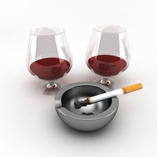 Free Cigarette And A Glass Of Wine Royalty Free Stock Images - 18562509