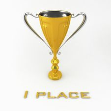 Golden Trophy Cup At The White Back Royalty Free Stock Photography