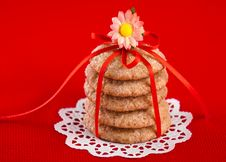 Free Ginger Cookies Tied With Red Ribbon Stock Images - 18564374