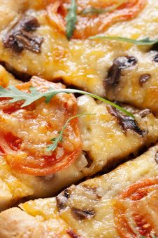 Free Pizza With Mushroom And Tomatoes Stock Photo - 18566020