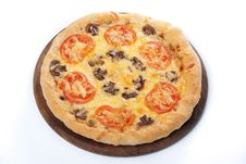 Pizza With Mushroom And Tomatoes Royalty Free Stock Images