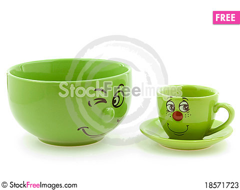 Free A Green Bowl Beside A Green Kid S Cup Stock Photos - 18571723