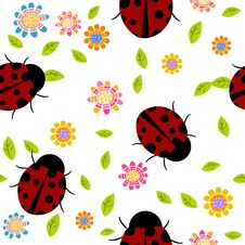 Free Seamless Background With Flowers And Ladybirds Royalty Free Stock Images - 18570369