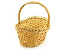 An Empty Wattled Basket Stock Photo
