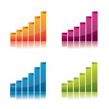 Free Colorful, Glossy  Graph Set Royalty Free Stock Photos - 18572068