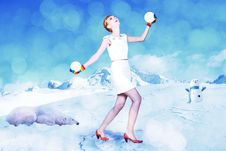 Beauty Young Woman In Snow Stock Image