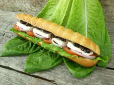 Mediterranean Baguette With Olives Stock Photo