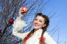 Free Pretty Girl With Red Apples Royalty Free Stock Photography - 18575677