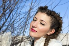 Young Brunette Woman Portrait At Sunny Winter Stock Image