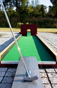 Free Putting At A Mini Golf Leisure Facility. Stock Photo - 18576420