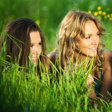 Free Girlfriends On Grass Royalty Free Stock Images - 18577509