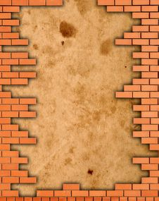 Brick Wall Grungy Frame Stock Image