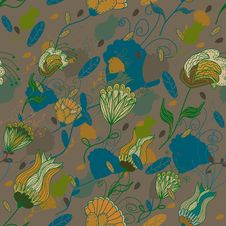 Free Seamless Retro Floral Pattern Royalty Free Stock Images - 18578039