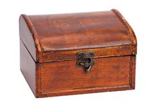 Free Vintage Closed Wooden Box With Lock Stock Photography - 18579172
