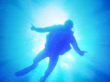 Free Diver In Light Royalty Free Stock Photography - 18579997