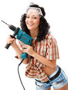 Free Girl With Drilling Machine Stock Photos - 18585223