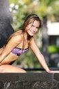 Free Beautiful Woman Relaxing Near Pool Stock Photos - 18588903