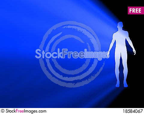 Free Silhouette Of Man Radiating Light Royalty Free Stock Photography - 18584067