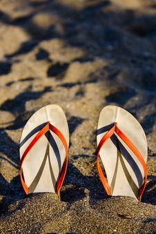 Free Flip Flops On The Beach Stock Photo - 18580270