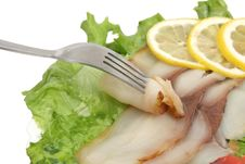 Free Fish Slices, Fork And Lemon Royalty Free Stock Photography - 18580647