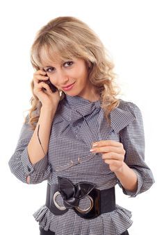 Free Young Girl Talking On Mobile Phone Stock Image - 18580671