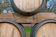 Free Wine Barrels With Vineyard In Background Stock Photography - 18581242