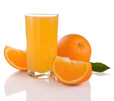 Free Juice And Oranges Isolated On White Royalty Free Stock Image - 18581356