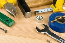 Free Tools And Instruments On Wood Stock Image - 18581641