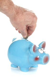 Free Blue Piggy Bank Savings Royalty Free Stock Photography - 18581897