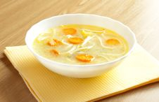 Free Soup With Noodles In A White Plate Royalty Free Stock Photos - 18582268