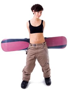 Free Girl With Snowboard Royalty Free Stock Images - 18584949
