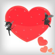 Free Red Magic Heart With Little Fairies Royalty Free Stock Photography - 18585487