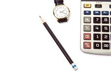 Pencil Calculator Watch On White Stock Photos
